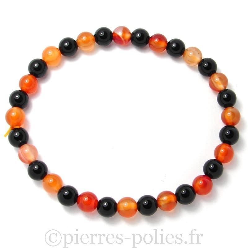 Cornaline naturelle + Onyx - Bracelet boules 6 mm -