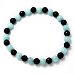 Amazonite + onyx - Bracelet boules 6 mm