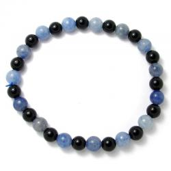 Aventurine bleue + onyx - Bracelet boules 6 mm