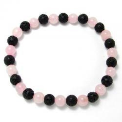 Quartz rose + lave - Bracelet boules 6 mm