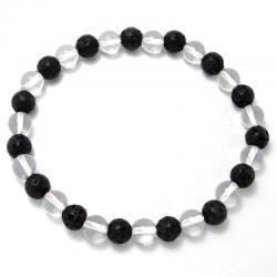 Cristal de roche + lave - Bracelet boules 6 mm