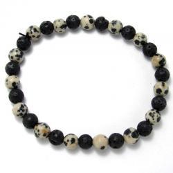 Jaspe dalmatien + lave - Bracelet boules 6 mm