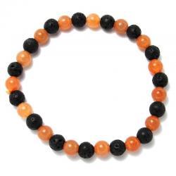 Aventurine orange + lave - Bracelet boules 6 mm