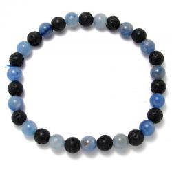 Aventurine bleue + lave - Bracelet boules 6 mm