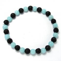 Amazonite + lave - Bracelet boules 6 mm