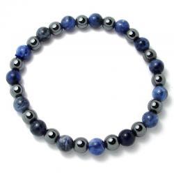 Sodalite + hématite - Bracelet boules 6 mm