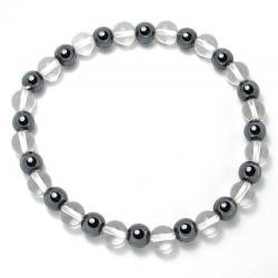 Cristal de roche + hématite - Bracelet boules 6 mm