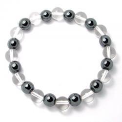Cristal de roche + hématite - Bracelet boules 8 mm