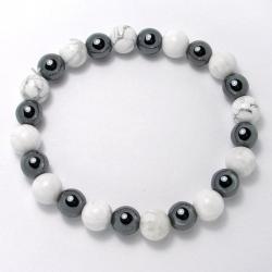 Magnésite + hématite - Bracelet boules 8 mm