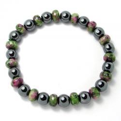Zoïsite à rubis + hématite - Bracelet rondelles 8 x 5 mm