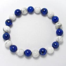 Lapis-lazuli + magnésite - Bracelet boules 8 mm