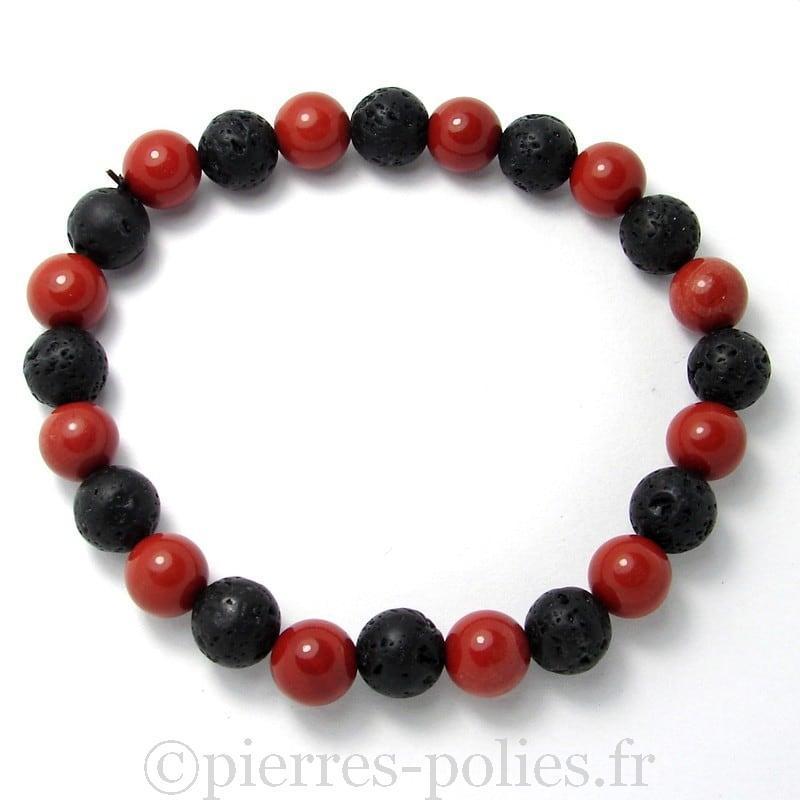 Jaspe rouge + lave - Bracelet boules 8 mm