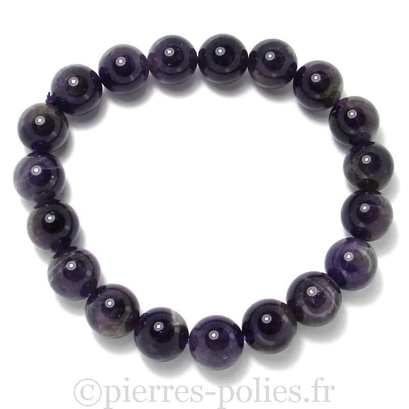 Améthyste - Bracelet boules 10 mm