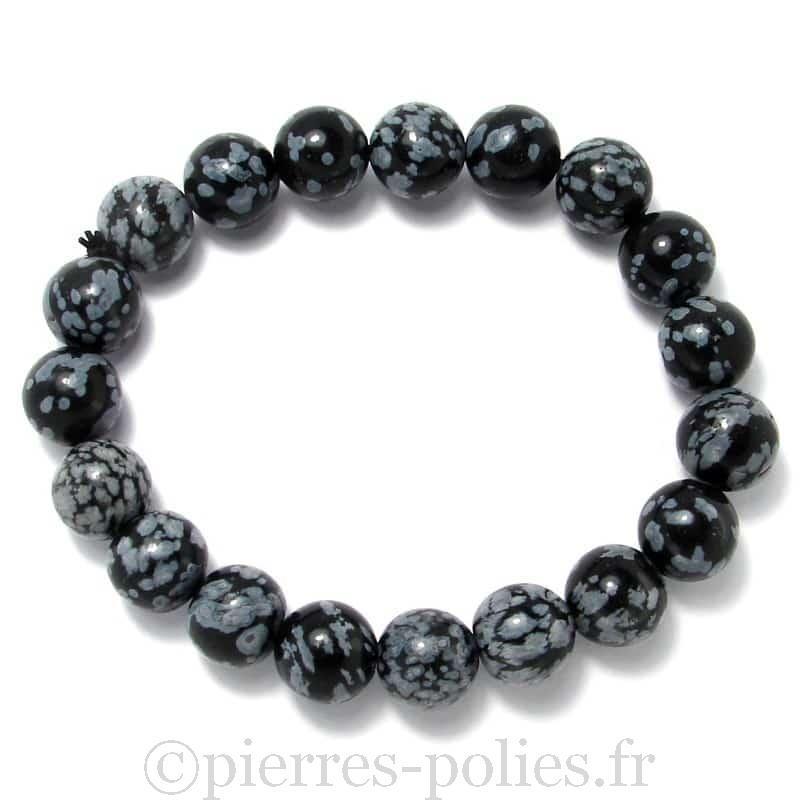 Obsidienne neige - Bracelet boules 10 mm