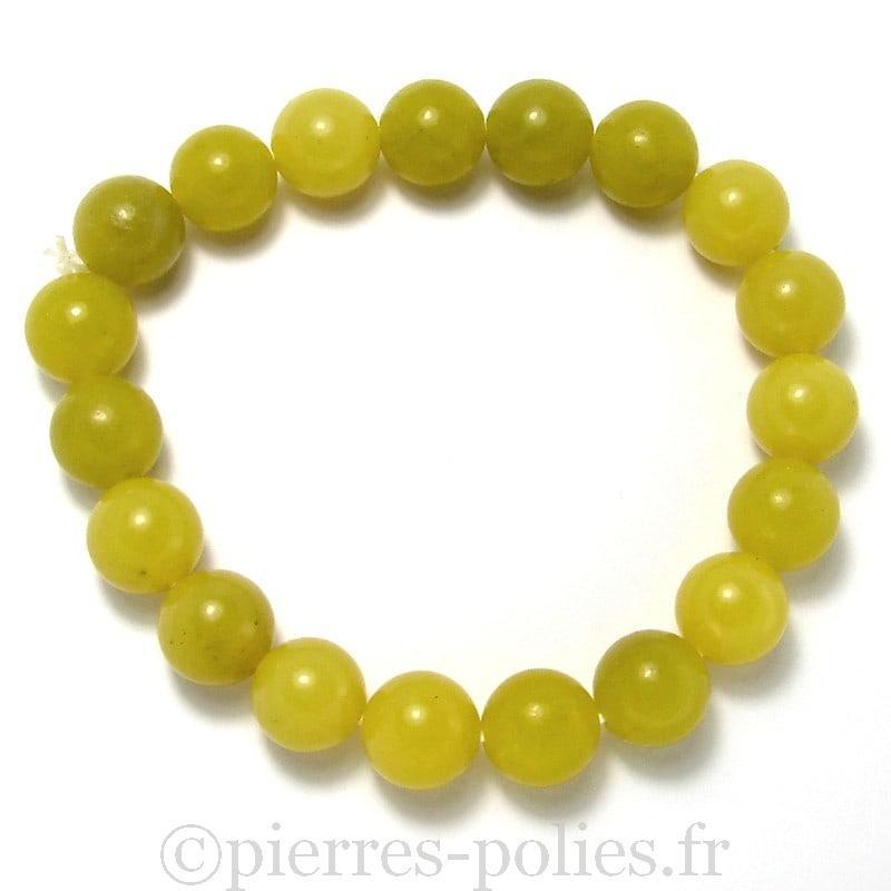 Serpentine citron - Bracelet boules 10 mm