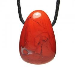 Jaspe rouge - Pendentif pierre roulée percée
