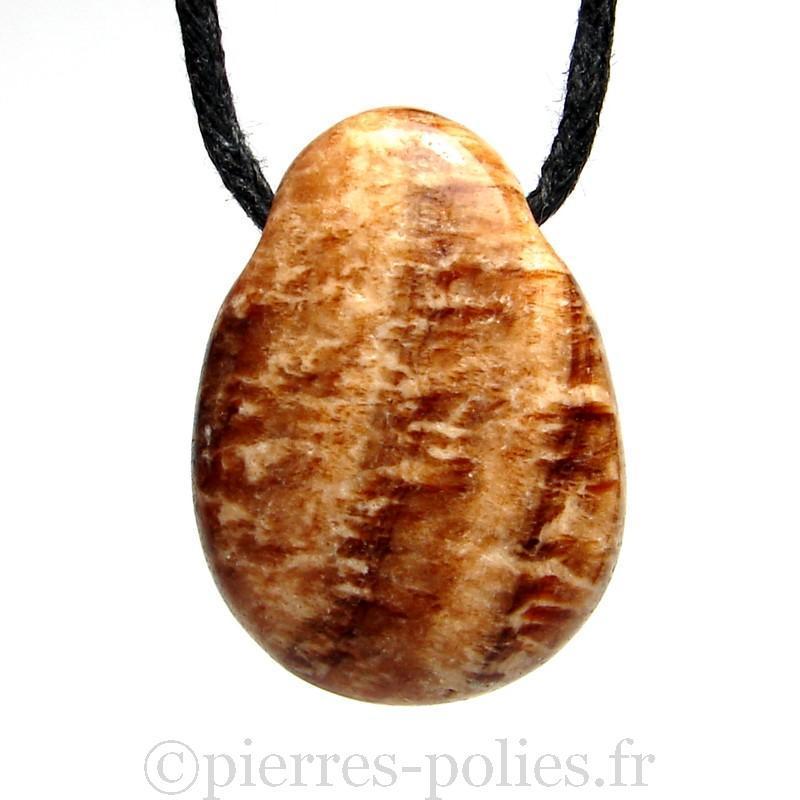 Aragonite feuilletée - Pendentif pierre roulée percée