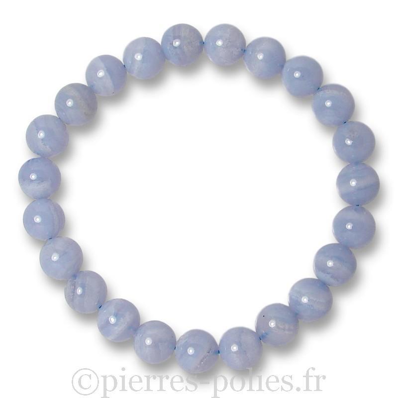 Bracelet boules 8 mm - Calcédoine bleue