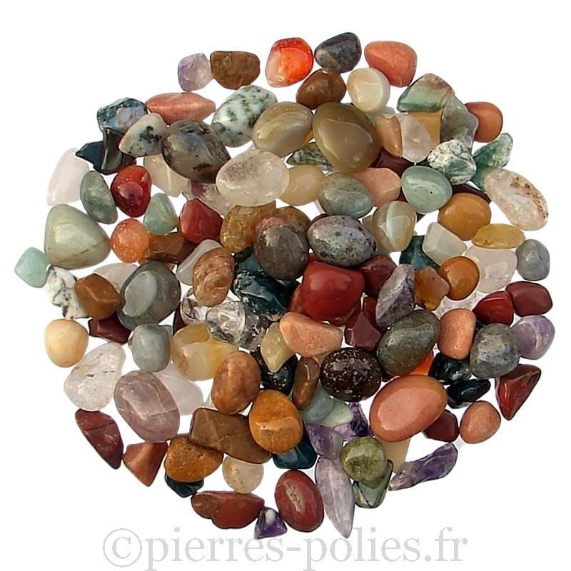 Gravier poli de pierres d'Inde en mélange. Calibre 7-15 mm