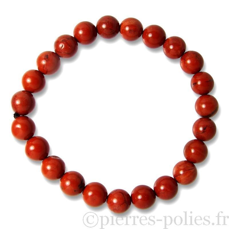 Bracelet boules 8 mm - Jaspe rouge