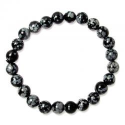 Bracelet boules 8 mm - Obsidienne neige