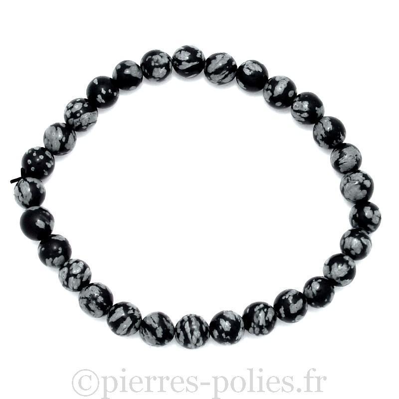 Bracelet boules 6 mm - Obsidienne neige