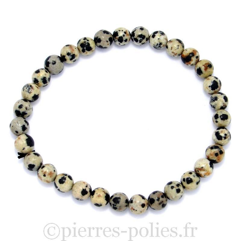 Bracelet boules 6 mm - Jaspe dalmatien
