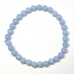Bracelet boules 6 mm - Calcédoine bleue