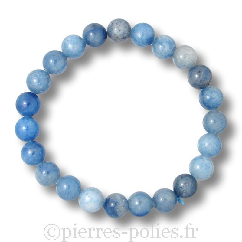 Aventurine bleue - Bracelet boules 8 mm