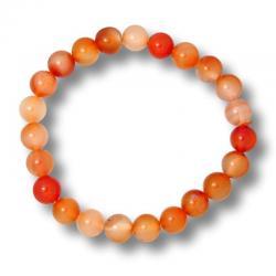 Cornaline naturelle - Bracelet boules 8 mm -
